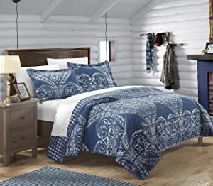 Chic Home 3 Piece Napoli Reversible Printed Quilt Set, King, Navy