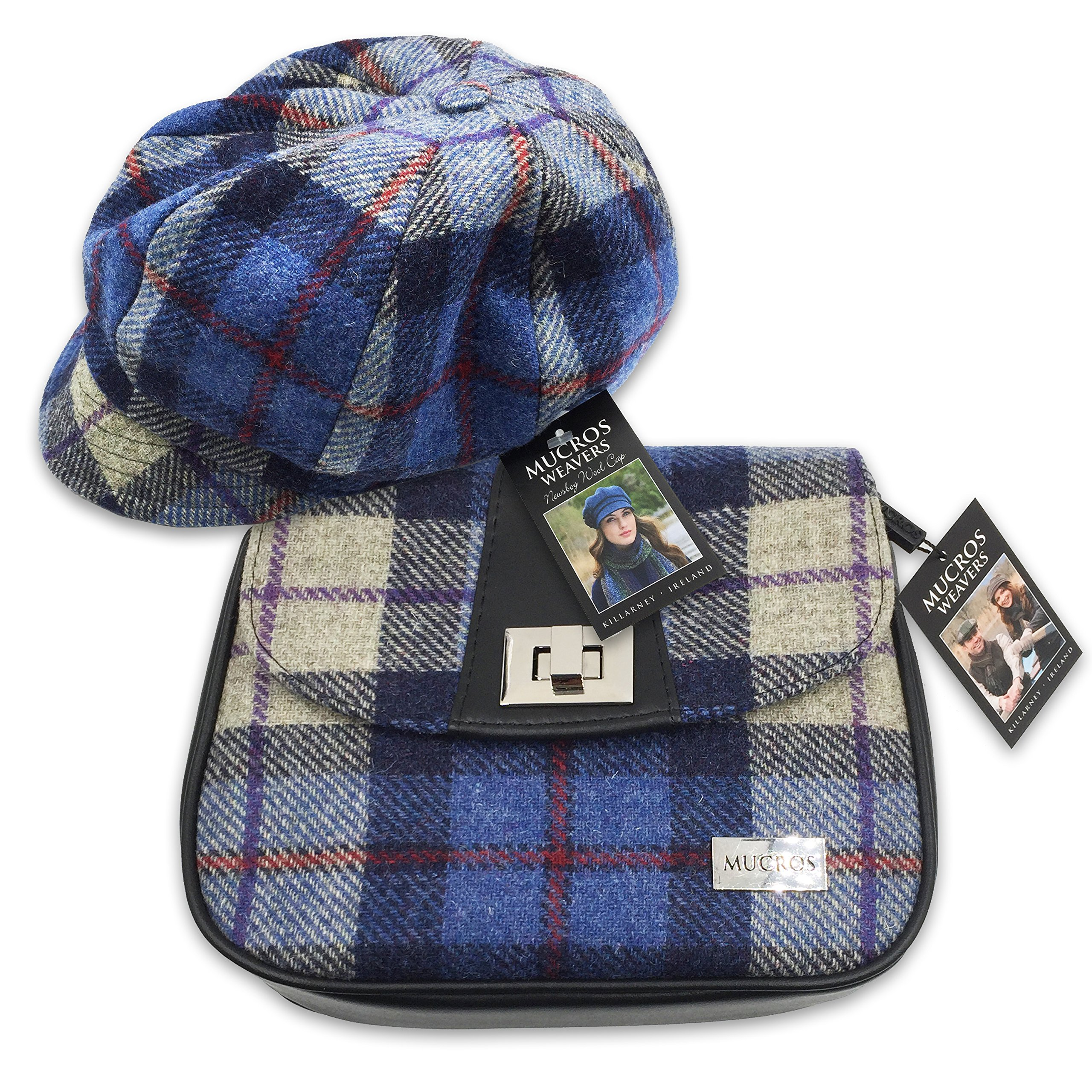 Mucros newsboy Cap and Sarah Bag Set (Blue Plaid) by Mucros Weavers