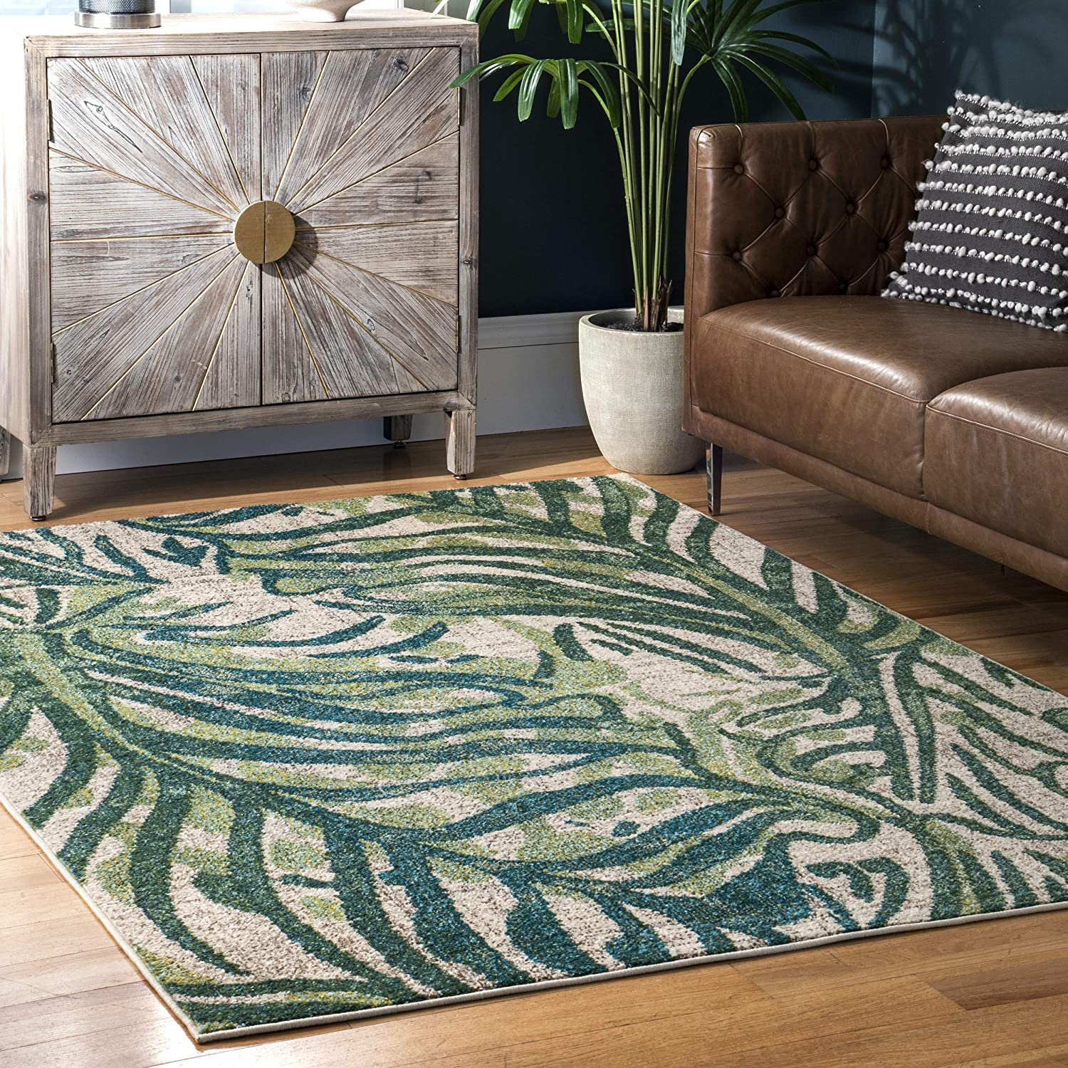 Amazon Com Nuloom Cali Abstract Leaves Runner Rug 2 X 6 Green Furniture Decor