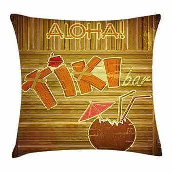 Amazon.com: Ambesonne Tiki Bar Decor Throw Pillow Cushion Cover ...
