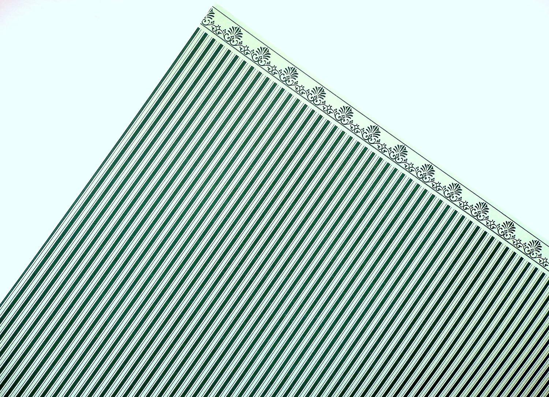 Puppenhaus Dunkelgrün auf Weiß Windsor Streifen Miniatur Tapete X 3