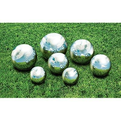 "Kovot 7 Piece Garden Sphere Set - 7 Stainless Steel Gazing Balls Ranging from 2 3/8"" - 4 3/4"" : Garden & Outdoor"