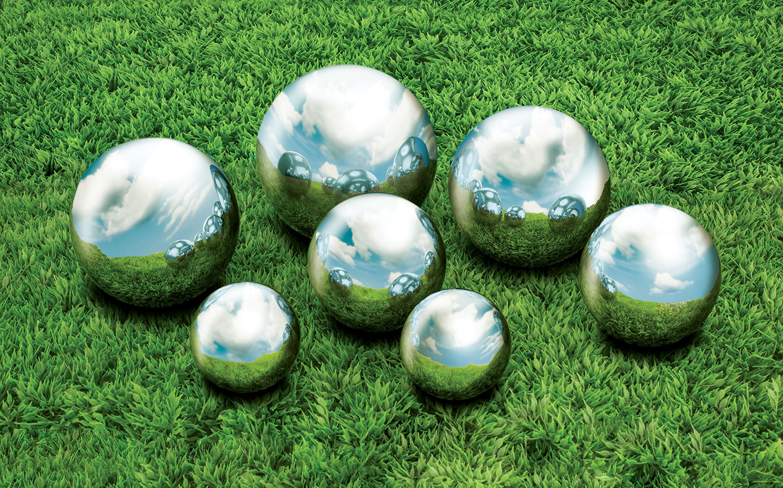 Kovot 7 Piece Garden Sphere Set - 7 Stainless Steel Gazing Balls Ranging From 2 3/8'' - 4 3/4''
