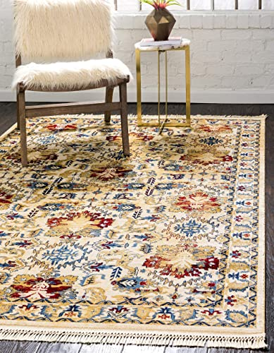 Unique Loom District Collection Abstract Over-Dyed Vintage Border Ivory Area Rug 9' 0 x 12' 0