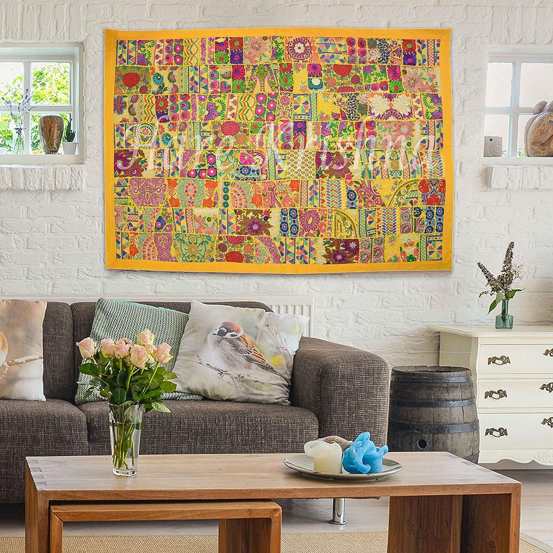 Hare Krishna Patchwork Design Indian Heavy Broderie Cadeau de Wall Art Tapisserie Coton Tenture Murale 101 x 152 Cm Jaune