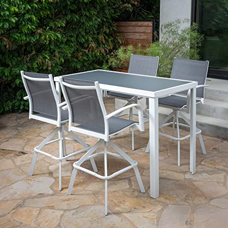 Hanover Naples 5 Piece High Dining Set With 4 Swivel Chairs And A Glass Top Bar Table White Napdn5pcbr Wht Outdoor Furniture Amazon Co Uk Garden Outdoors