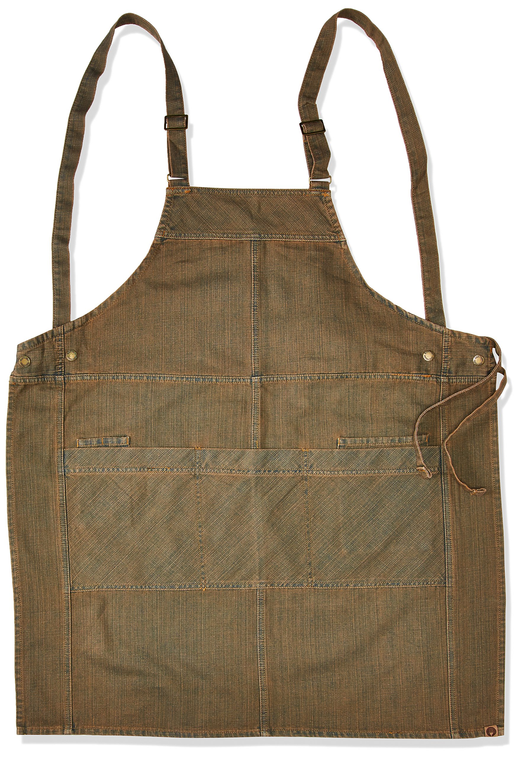 Chef Works Uptown Cross-Back Bib Apron, Blue/Taupe, One Size