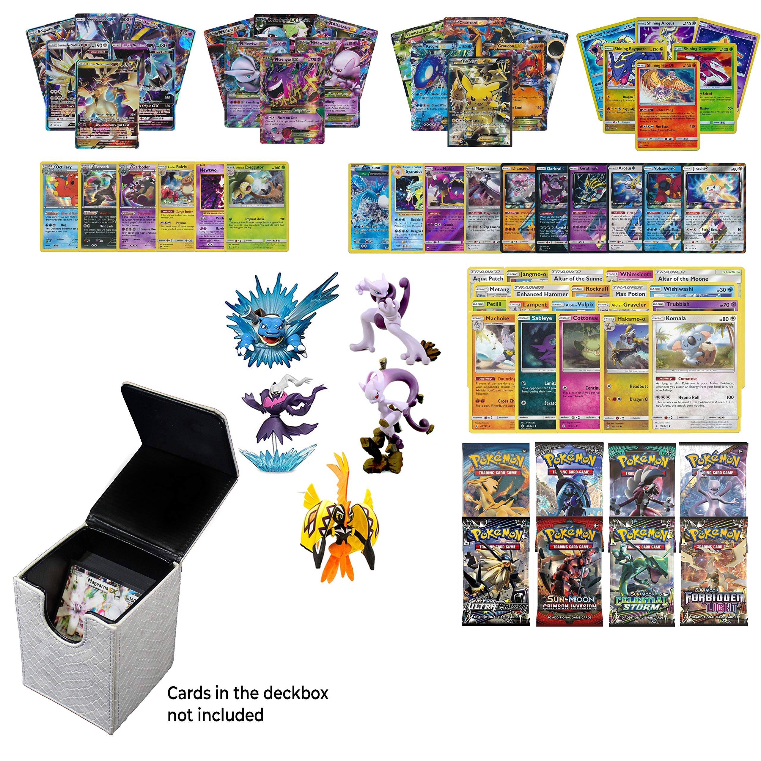 Playoly Pokemon Premium Collection 100 Cards with GX Mega EX Shining Holo 10 Rares 4 Booster Pack -White Dragonhide Deck Box- Figure