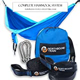 Double Camping Hammock with Tree Straps, Best Portable Parachute Hammocks for Hiking, Beach Fun, or Backyard Relaxation