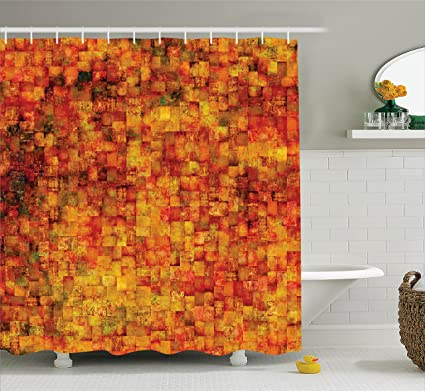 Ambesonne Burnt Orange Shower Curtain Vintage Mosaic Background Quadratic Little Geometric Squares Faded Print