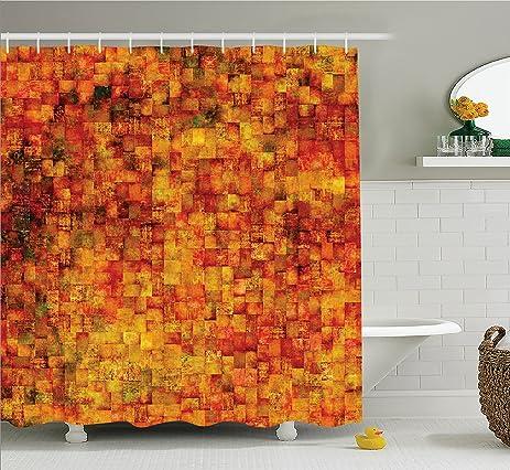 Burnt Orange Shower Curtain By Ambesonne, Vintage Mosaic Background  Quadratic Little Geometric Squares Faded Print