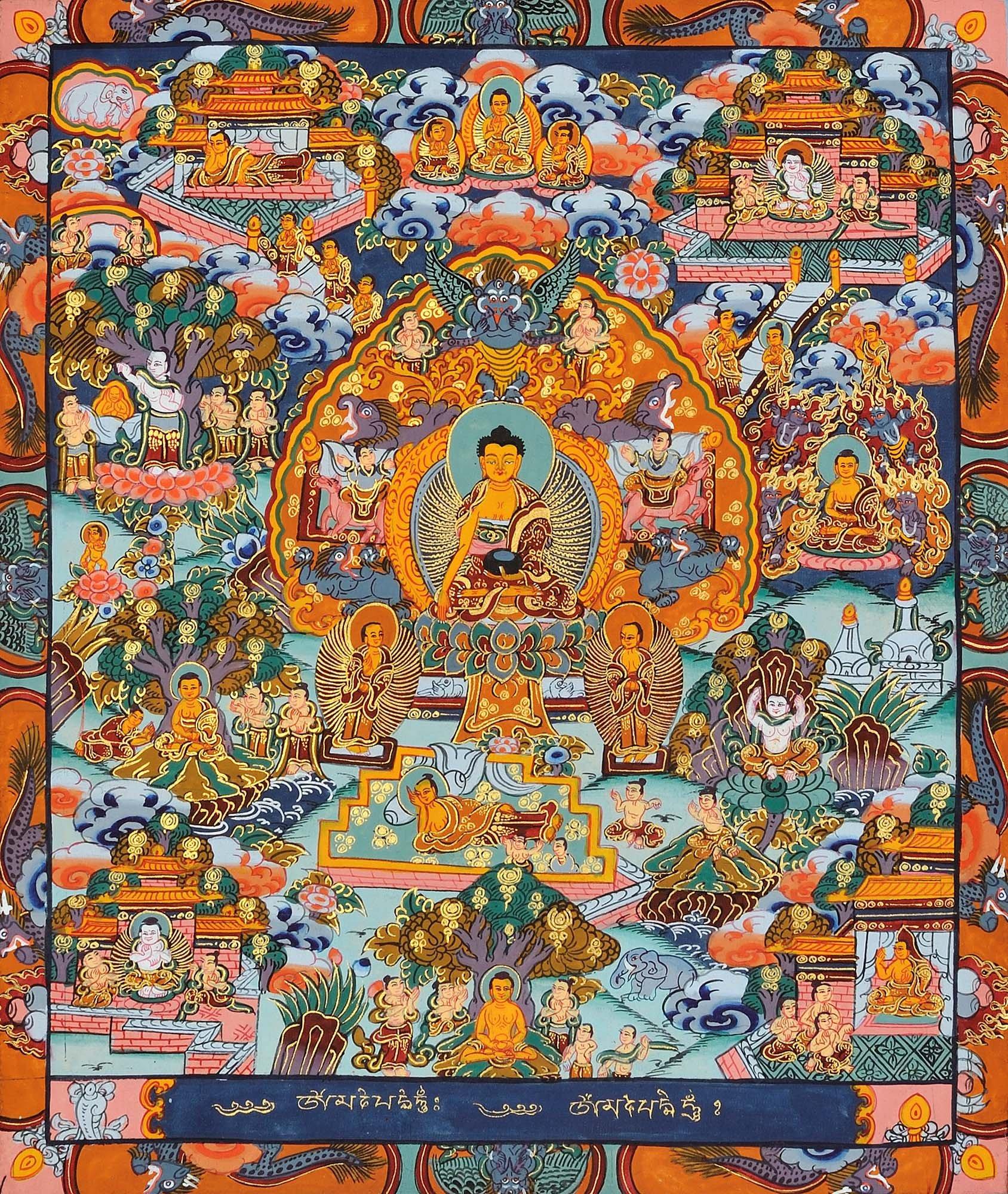 Gautam Buddha with Scenes from His Life (Tibetan Buddhist) - Tibetan Thangka Painting