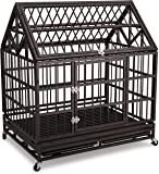 Haige Pet Heavy Duty Dog Crate 42 Homestead Serise Dogs Cage Kennel with Tray and Wheels