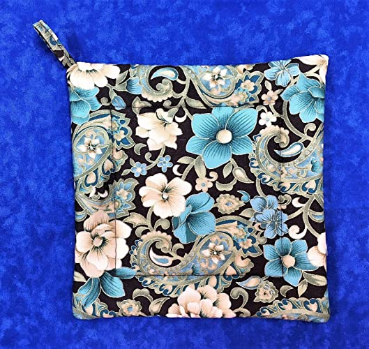 Brown And Teal Flowers And Paisley Square Pot Holder 8 1/2u0026quot; ...