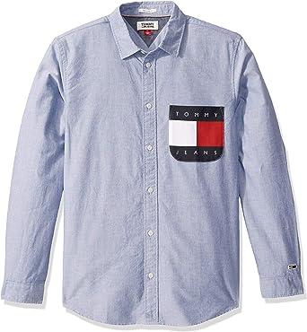 Tommy Hilfiger Mens Contrast Stripe Button Up Shirt