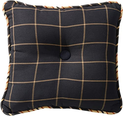 HiEnd Accents Ashbury Woven Tweed Tufted Throw Pillow, 18 x 18 , Black Tan Windowpane