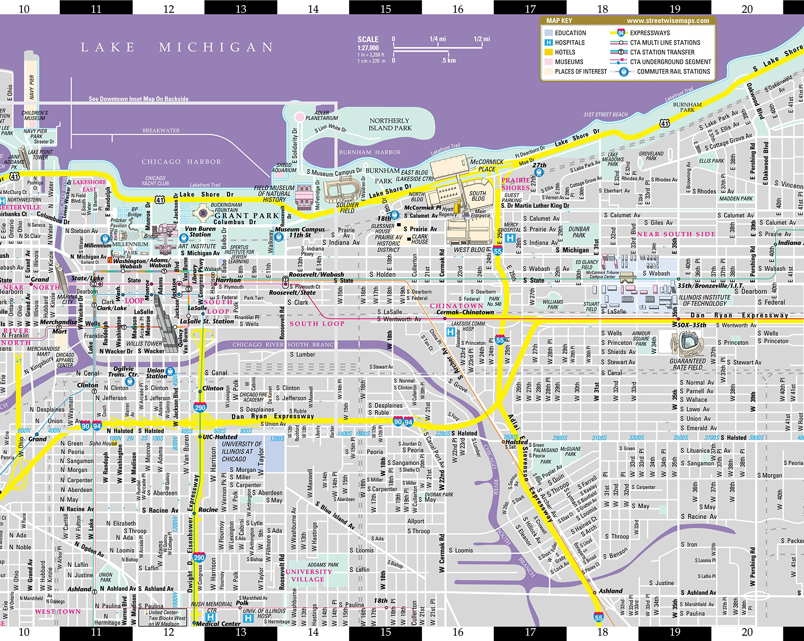 Streetwise Chicago Map.Streetwise Chicago Map Laminated City Center Street Map Of Chicago
