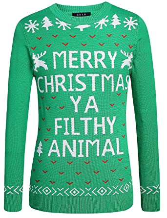 134f44d6c513 SSLR Men s Funny Xmas Snowflake Pullover Crew Neck Ugly Christmas ...