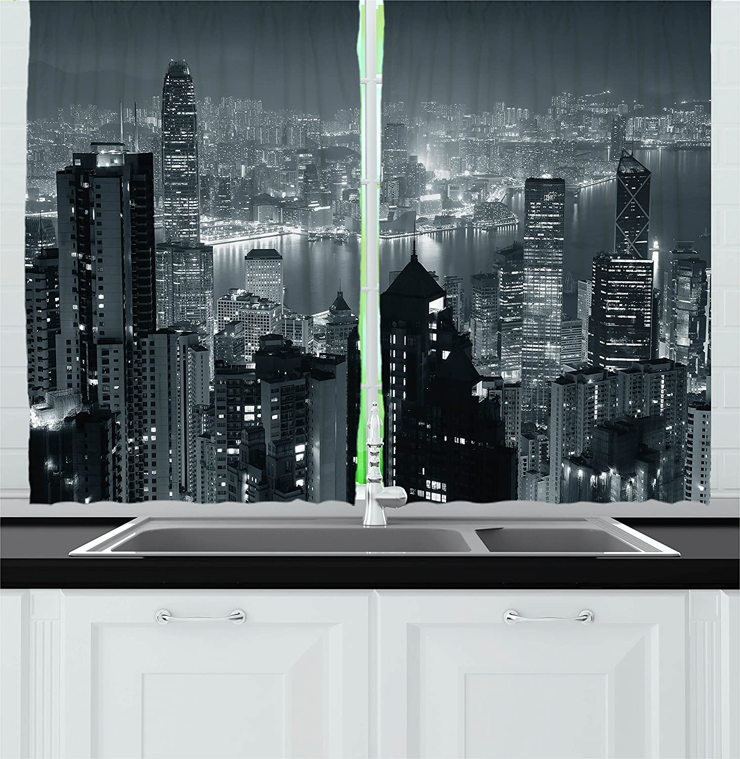 """Ambesonne City Kitchen Curtains, Aerial Night of View Hong Kong Skyline Famous Modern Urban Town Metropolis Panorama Image, Window Drapes 2 Panel Set for Kitchen Cafe Decor, 55"""" X 39"""", Grey"""