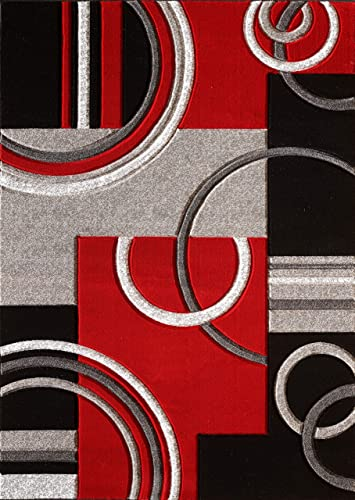 GLORY RUGS Area Rug Modern 8×10 Red Soft Hand Carved Contemporary Floor Carpet