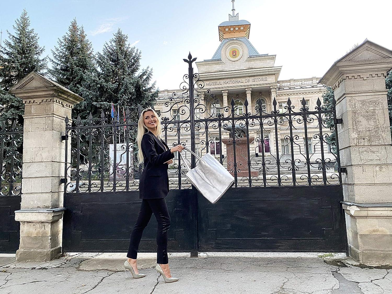 cuir v/éritable sac /à main brillant avec poche int/érieure cousue SKUTARI/® CUIR Vittoria Brillante Femme Shopper sac fourre-tout de mode fait main en Italie