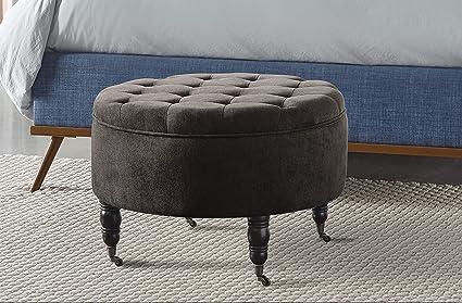 Admirable Elle Decor Quinn Round Tufted Ottoman With Storage And Casters Gray Creativecarmelina Interior Chair Design Creativecarmelinacom