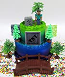 MINECRAFT Birthday Cake Topper Set Featuring STEVE and Themed Decorative Accessories