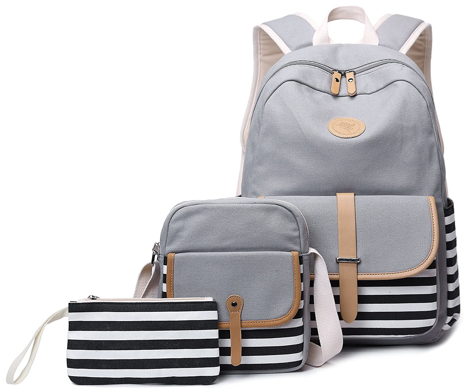 School Backpack for Girls Gazigo Womens High School College Bookbags Laptop Bag Gray