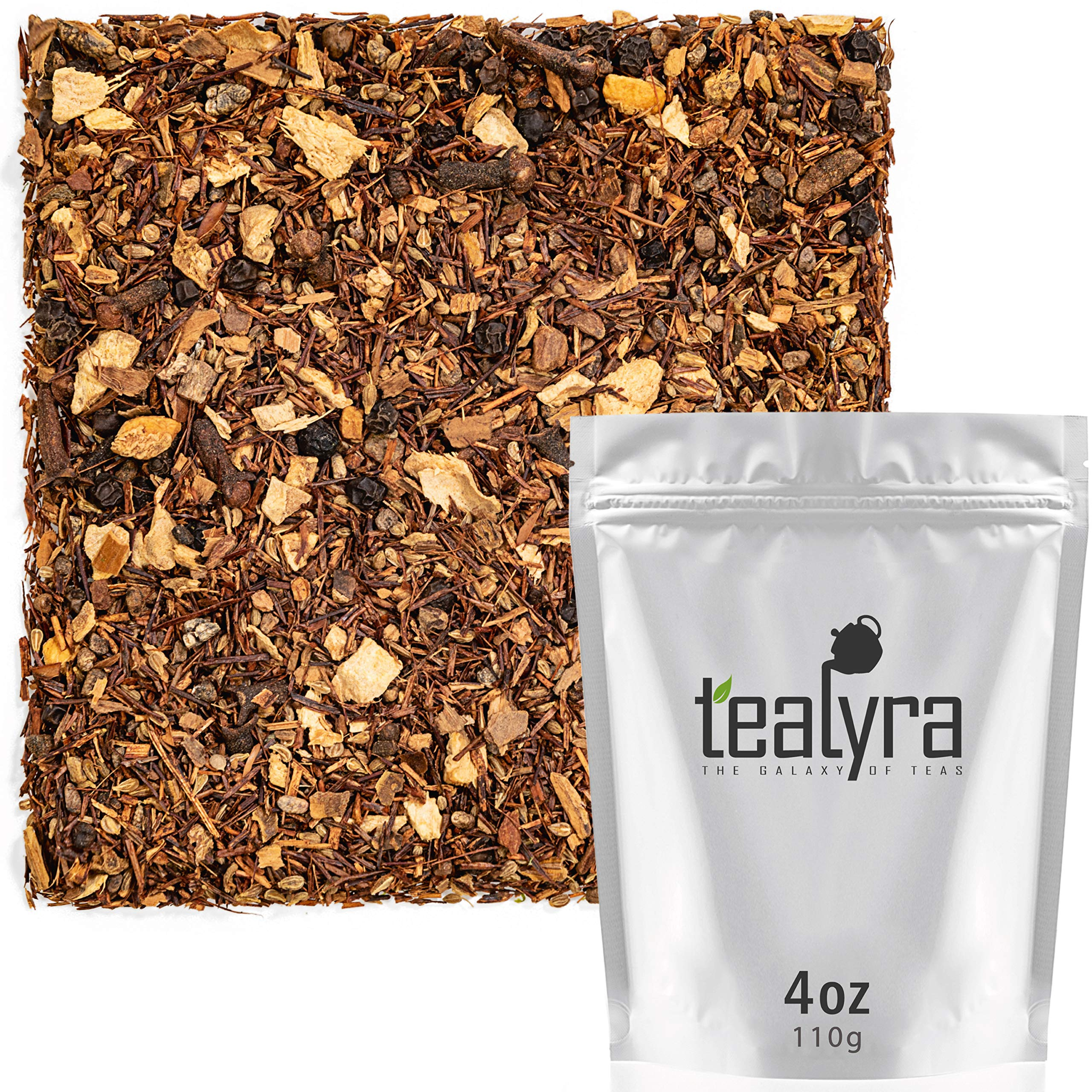 Tealyra - Rooibos - Red Burner Chai - Ginger - Anise - Cinnamon - Red Bush Tea - Spicy Herbal Loose Leaf Tea - Antioxidants Rich - Caffeine-Free - 110g (4-ounce)