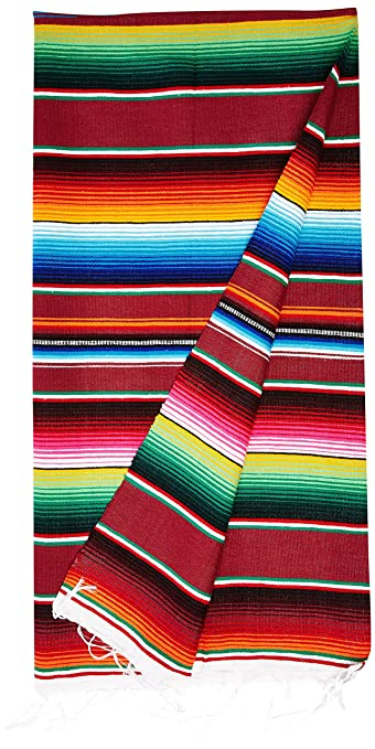 Amazon.com  Large Authentic Mexican Blankets Colorful Serape ... 592ad9b96d