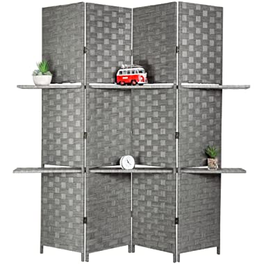 MyGift Decorative Hand Woven Bamboo 4-Panel Room Divider with 2 Tier Display Shelves & 2-Way Hinges, Gray