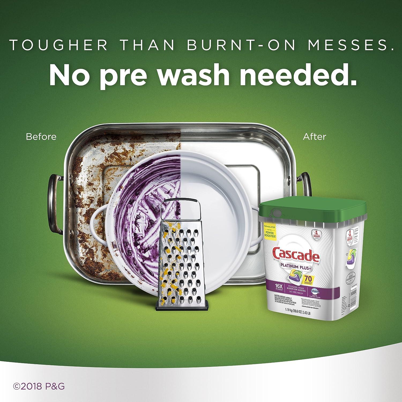 9ccff43f16d18 Cascade Platinum Plus Dishwasher Detergent Actionpacs, Lemon, 70 Count