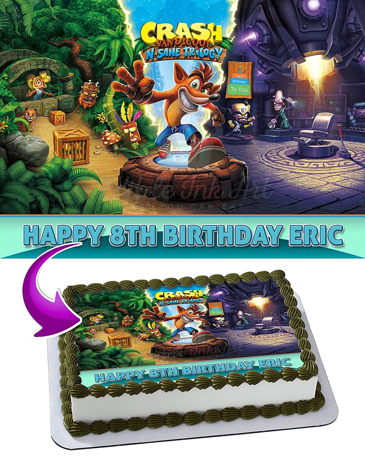 Crash Bandicoot Edible Cake Image Topper Personalized Icing Sugar