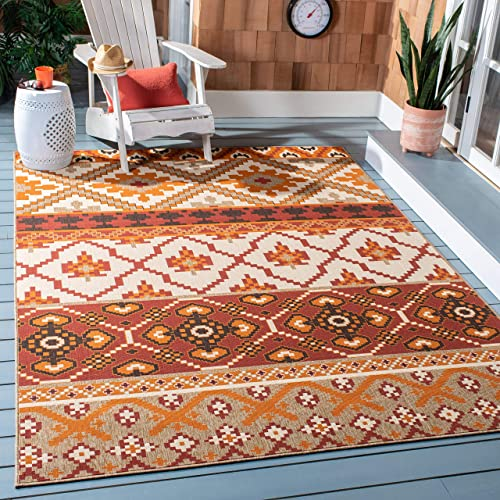 Safavieh Veranda Collection VER097-0334 Red and Beige 5 3 x 7 7 Area Rug, 5 3 x 7 7