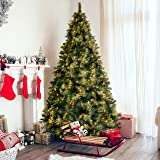 Best Choice Products 7.5ft Pre-Lit Faux Hinged Artificial Christmas Pine Tree w/ 86 Cones, 750 Lights, Stand - Green