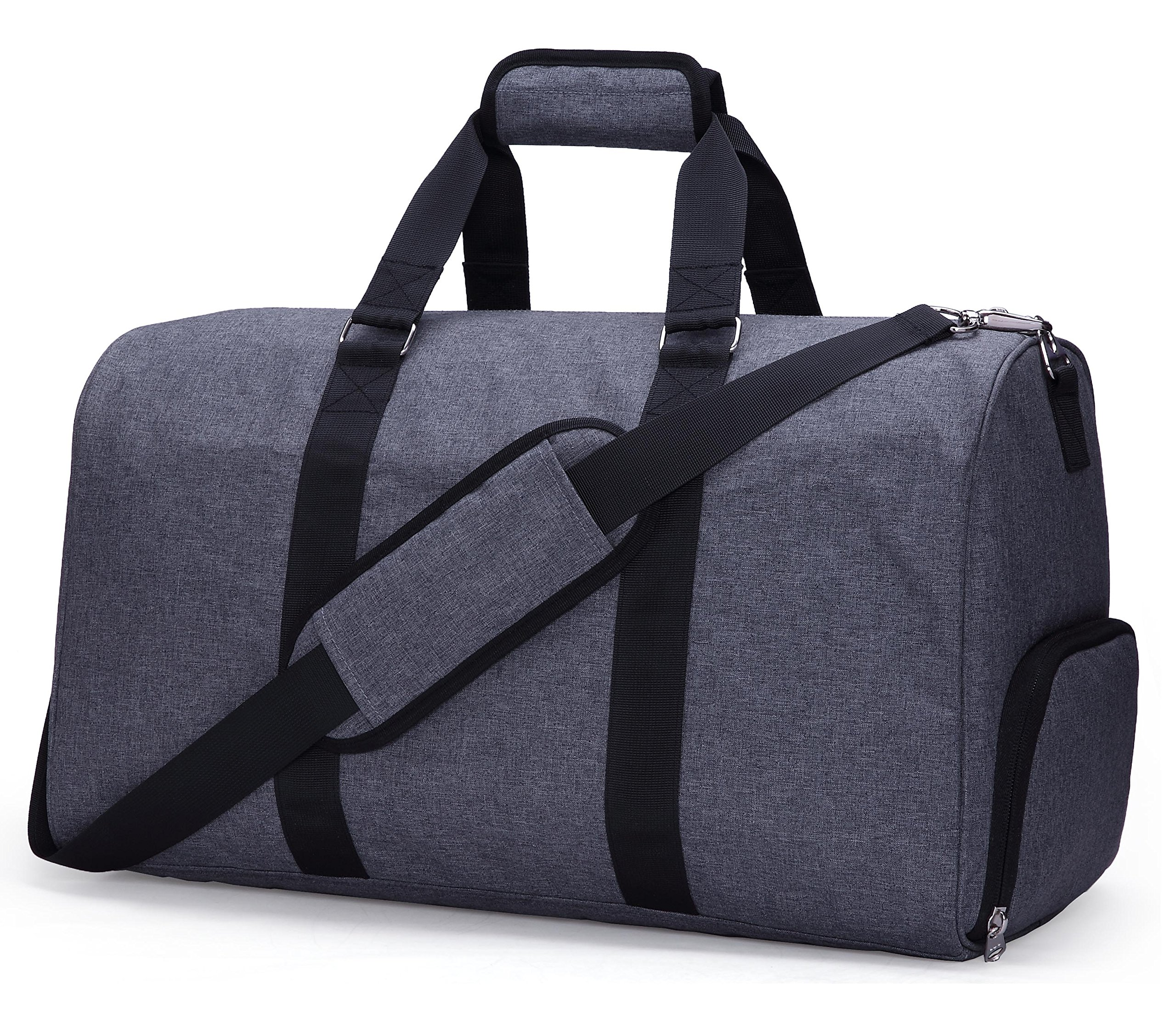 MIER Gym Duffel Bag for Men and Women with Shoe Compartment, Carry On Size, 20inches, Sets of 2(Large and Small), Grey