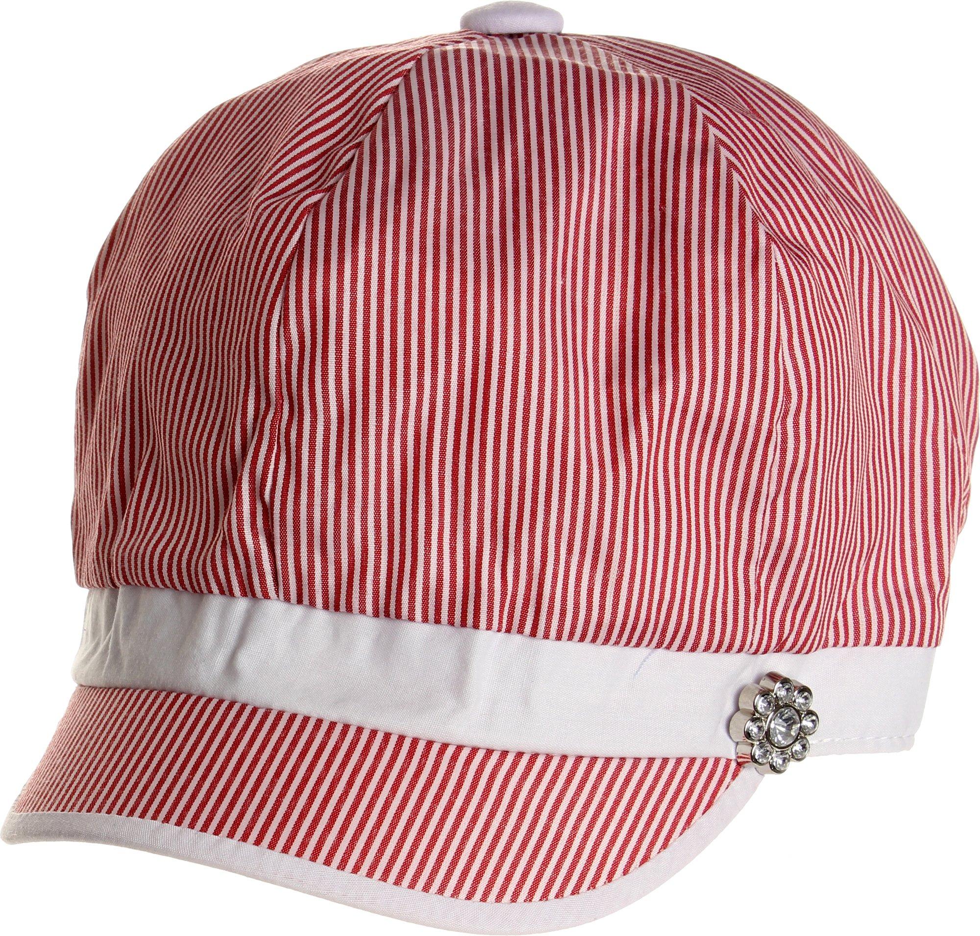 LL Women's Spring Summer Narrow Stripes Rhinestone Flower Cabbie Hats - Red