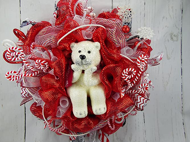 polar bear christmas wreath red and white christmas wreath candy christmas wreath holiday