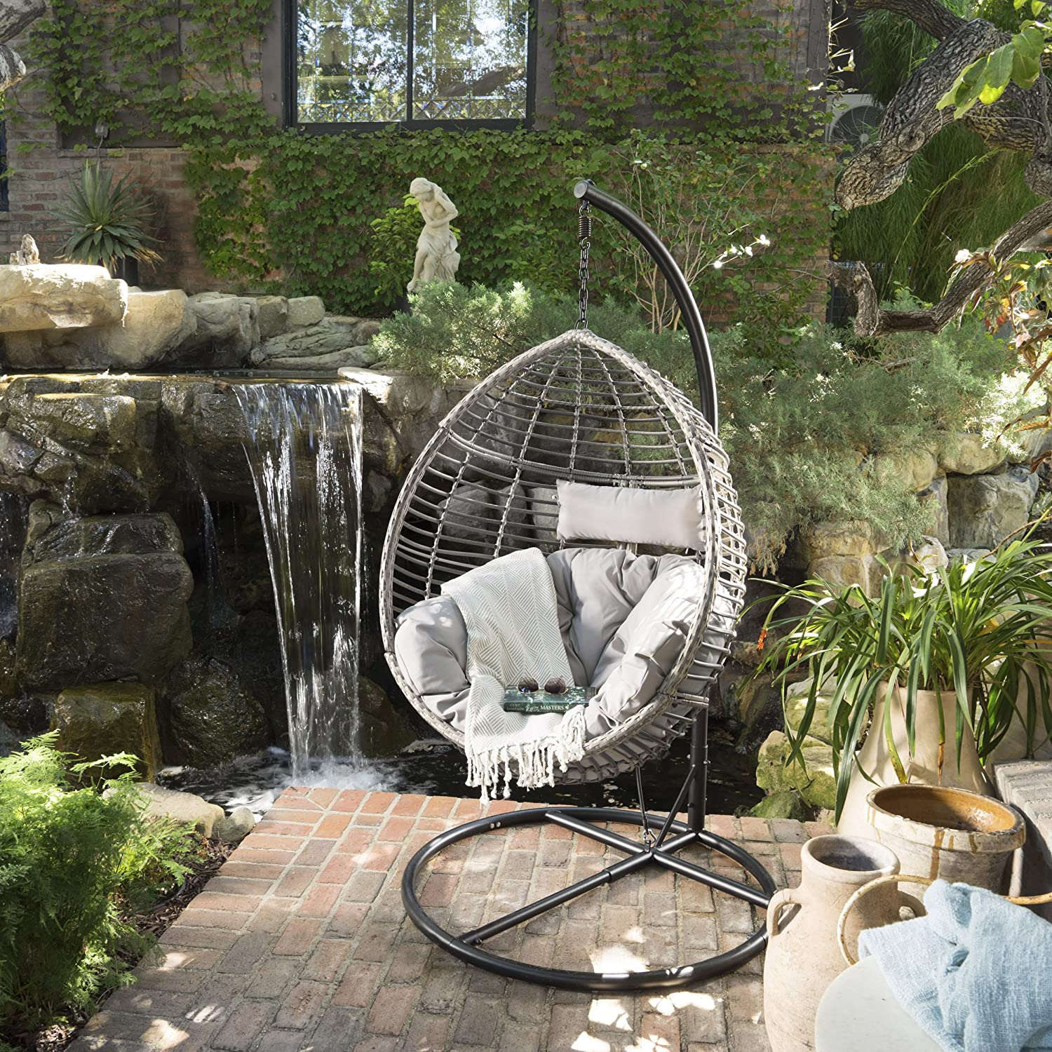 Christopher Knight Home Leasa Outdoor Black Wicker Hanging Basket Chair with Grey Water Resistant Cushions and Black Iron Base
