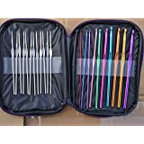 Aluminum Handle Crochet Hooks Knitting Knit Needles Weave Yarn 22 pcs