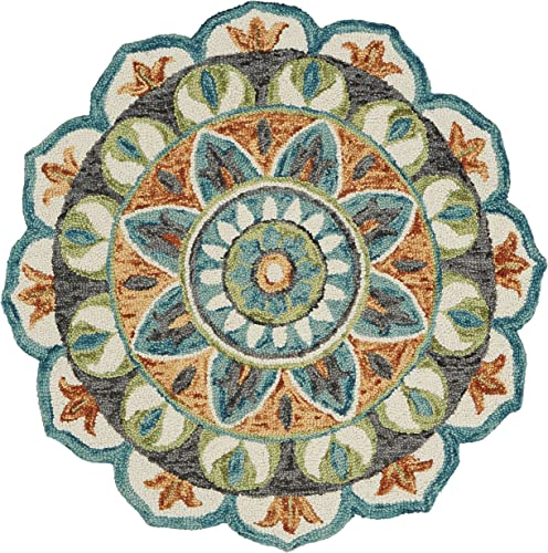 LR Home Dazzle Area Rug, 4 Round, Teal Green