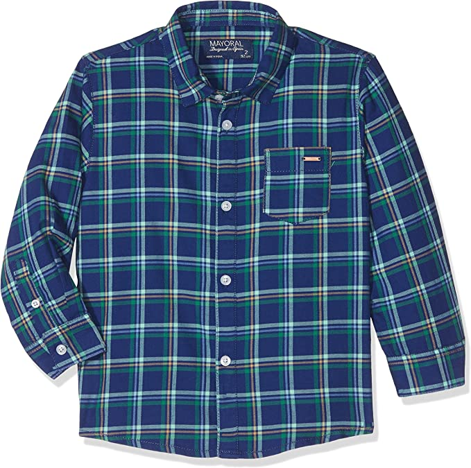 Mayoral Boys Plaid Button Down Shirt