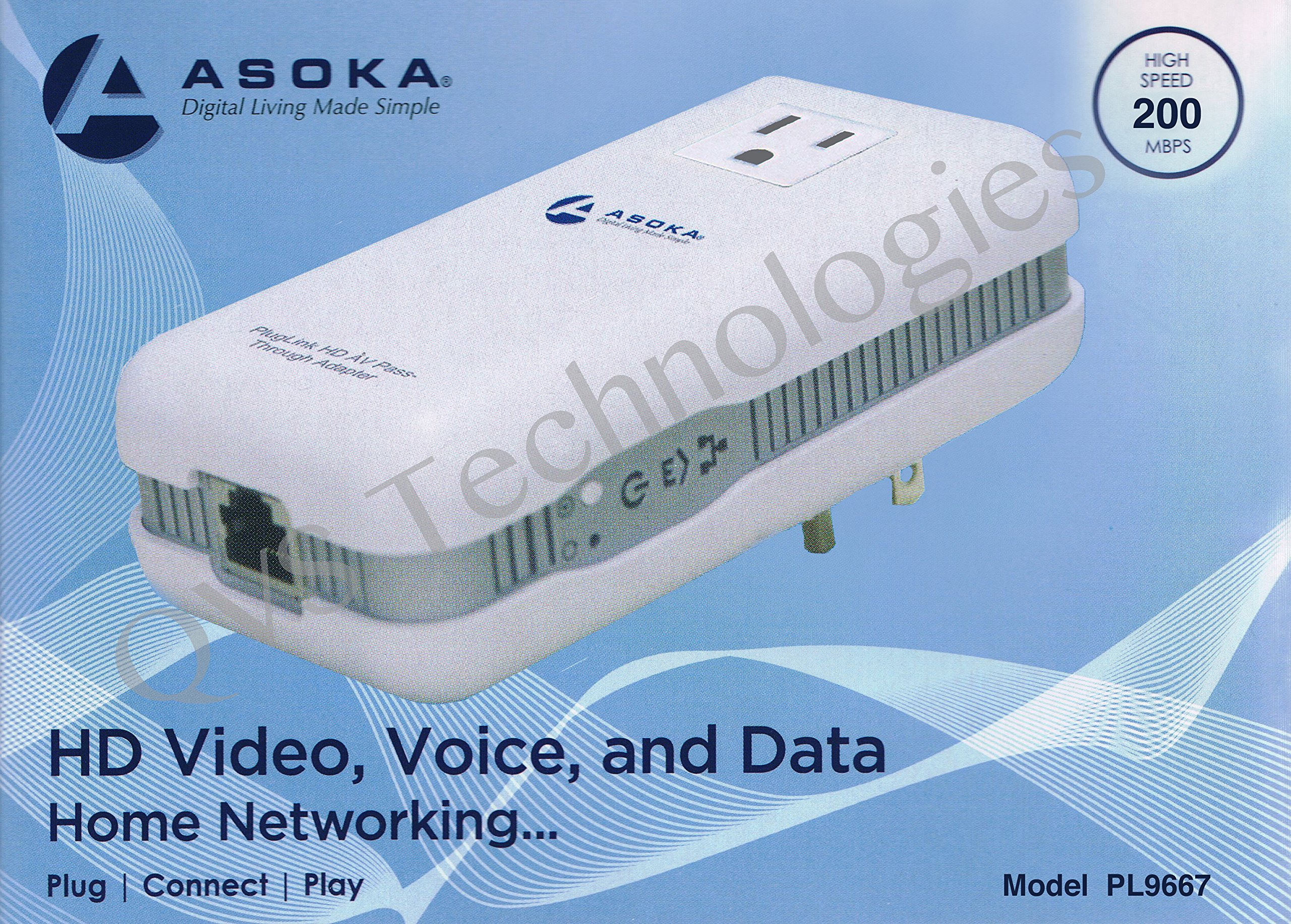 Asoka PlugLink ETH-200 Mbps HomePlug Powerline Ethernet Adapter - 9667 with Home Plug Passthrough