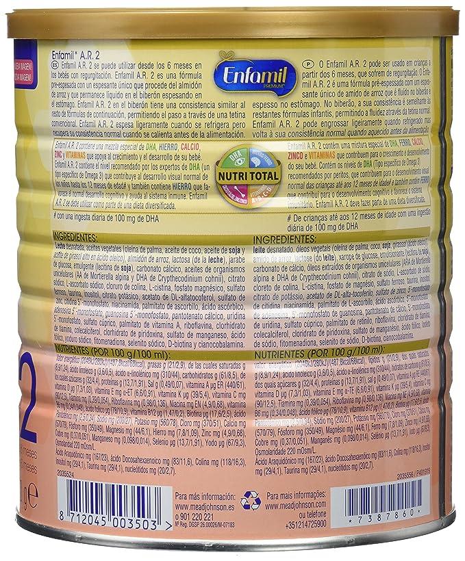 Enfamil A.R. 2 Fórmula Infantil para el Tratamiento Dietético de Regurgitación - 800 gr: Amazon.es: Amazon Pantry