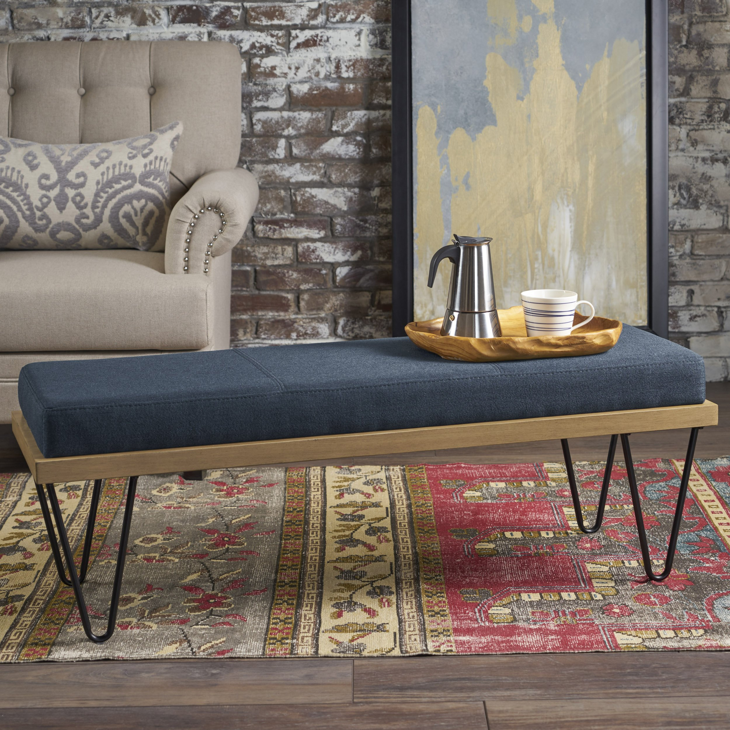 Christopher Knight Home Elaina Bench | Perfect for Dining Table or Entry Way | Danish, Minimal, Mid Century Modern Design | Hairpin Leg | Fabric in Navy Blue by Christopher Knight Home