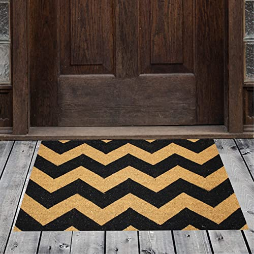 Natural Geo Island Chevron Black Beige Natural Coir Doormat 20 x 31