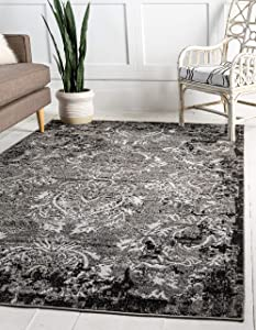 Unique Loom Outdoor Botanical Collection Vintage Floral Transitional Indoor and Outdoor Flatweave Light Gray Area Rug (5' 0 x 8' 0)