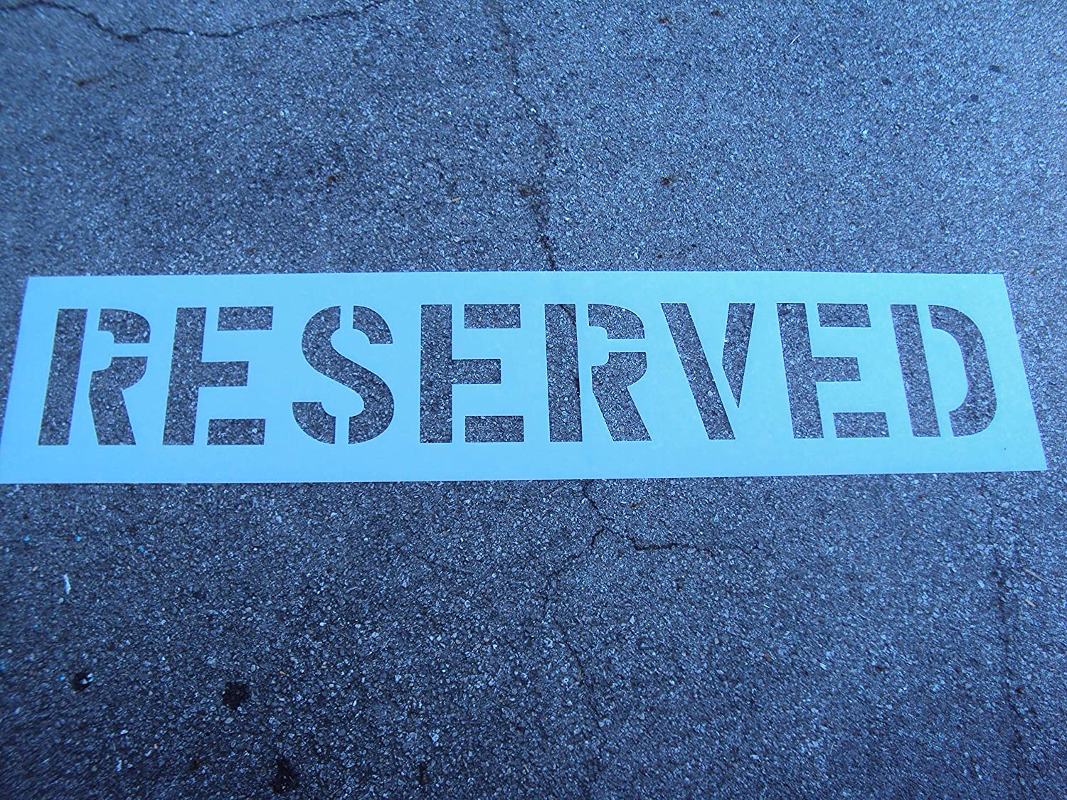 12 RESERVED Stencil ACTUAL 12 Inch Letters 1//16 Inch thick plastic material Parking Lot Stencil