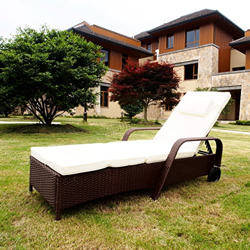 WestWood Rattan Day Chair Recliner Sun Bed Lounger Wicker Outdoor Garden Furniture Terrace Patio Brown