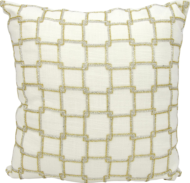 Nourison Mina Victory Interlock Squares Mina Victory E0171 White Decorative Pillow 18 X 18